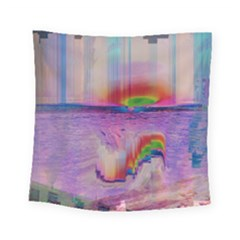 Glitch Art Abstract Square Tapestry (small)