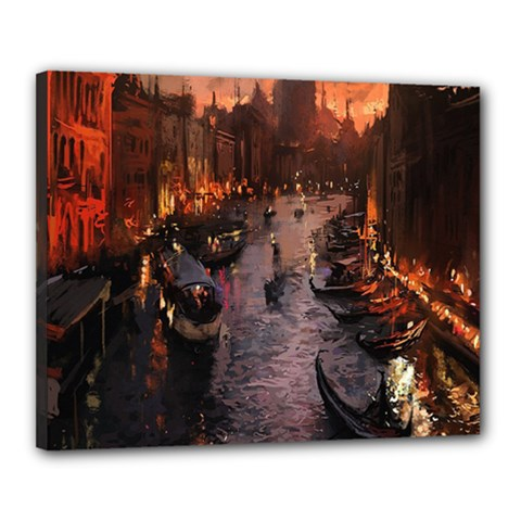 River Venice Gondolas Italy Artwork Painting Canvas 20  X 16  by Simbadda