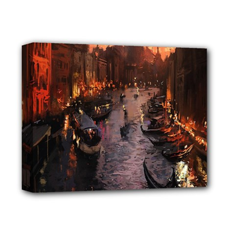 River Venice Gondolas Italy Artwork Painting Deluxe Canvas 14  X 11