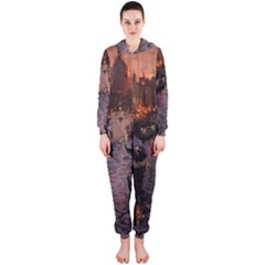 River Venice Gondolas Italy Artwork Painting Hooded Jumpsuit (ladies)  by Simbadda