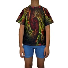 Fractal Digital Art Kids  Short Sleeve Swimwear by Simbadda