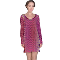 Abstract Circle Colorful Long Sleeve Nightdress