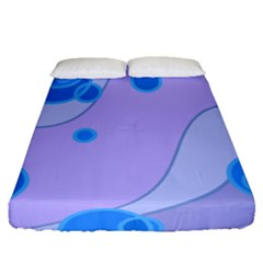 Purple Wave Circle Blue Fitted Sheet (queen Size)