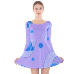 Purple Wave Circle Blue Long Sleeve Velvet Skater Dress by Alisyart