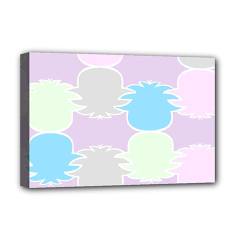 Pineapple Puffle Blue Pink Green Purple Deluxe Canvas 18  X 12   by Alisyart