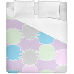 Pineapple Puffle Blue Pink Green Purple Duvet Cover (california King Size) by Alisyart