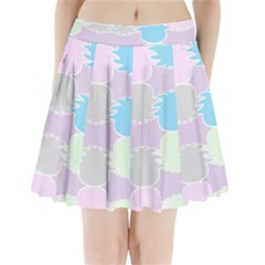 Pineapple Puffle Blue Pink Green Purple Pleated Mini Skirt by Alisyart