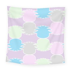 Pineapple Puffle Blue Pink Green Purple Square Tapestry (large) by Alisyart