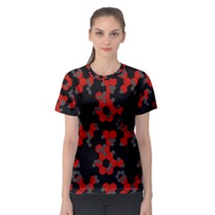 Red Digital Camo Wallpaper Red Camouflage Women s Sport Mesh Tee