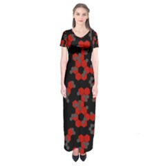 Red Digital Camo Wallpaper Red Camouflage Short Sleeve Maxi Dress