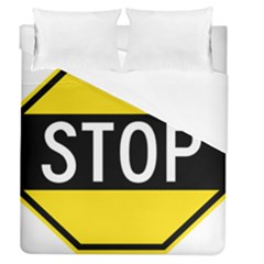 Road Sign Stop Duvet Cover (queen Size)