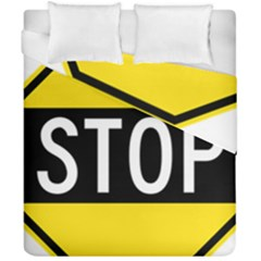 Road Sign Stop Duvet Cover Double Side (california King Size) by Alisyart