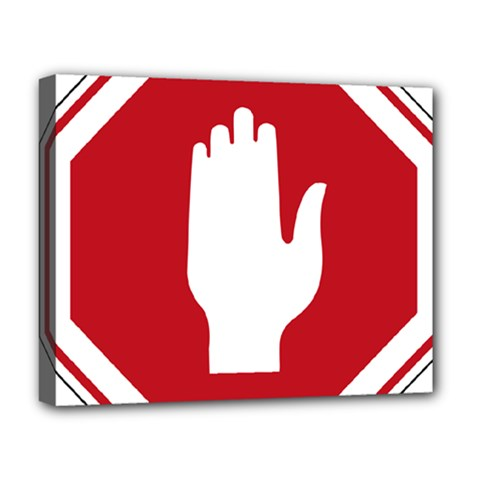 Road Sign Stop Hand Finger Deluxe Canvas 20  X 16   by Alisyart