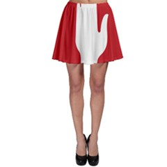 Road Sign Stop Hand Finger Skater Skirt