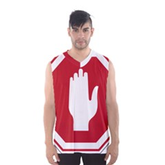 Road Sign Stop Hand Finger Men s Basketball Tank Top by Alisyart