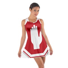 Road Sign Stop Hand Finger Cotton Racerback Dress