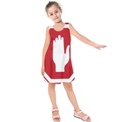 Road Sign Stop Hand Finger Kids  Sleeveless Dress by Alisyart
