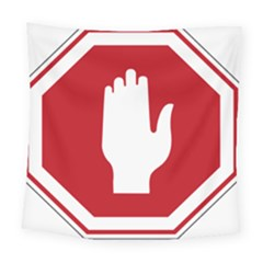 Road Sign Stop Hand Finger Square Tapestry (large) by Alisyart