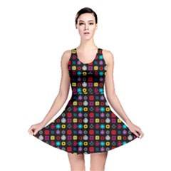 N Pattern Holiday Gift Star Snow Reversible Skater Dress by Alisyart