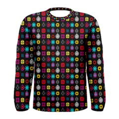 N Pattern Holiday Gift Star Snow Men s Long Sleeve Tee