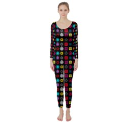 N Pattern Holiday Gift Star Snow Long Sleeve Catsuit