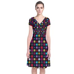 N Pattern Holiday Gift Star Snow Short Sleeve Front Wrap Dress