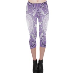 Purple Background With Artwork Capri Leggings