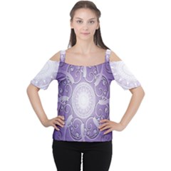 Purple Background With Artwork Women s Cutout Shoulder Tee
