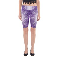 Purple Background With Artwork Yoga Cropped Leggings by Alisyart