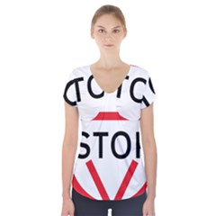 Stop Sign Short Sleeve Front Detail Top by Alisyart