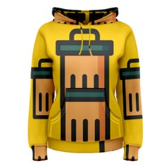 Trash Bin Icon Yellow Women s Pullover Hoodie