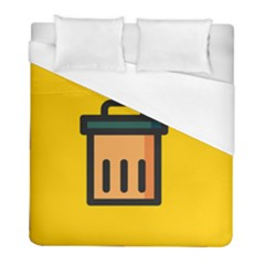 Trash Bin Icon Yellow Duvet Cover (full/ Double Size)