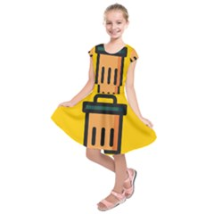 Trash Bin Icon Yellow Kids  Short Sleeve Dress by Alisyart