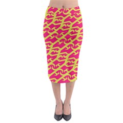 Typeface Variety Postcards Unique Illustration Yellow Red Midi Pencil Skirt by Alisyart