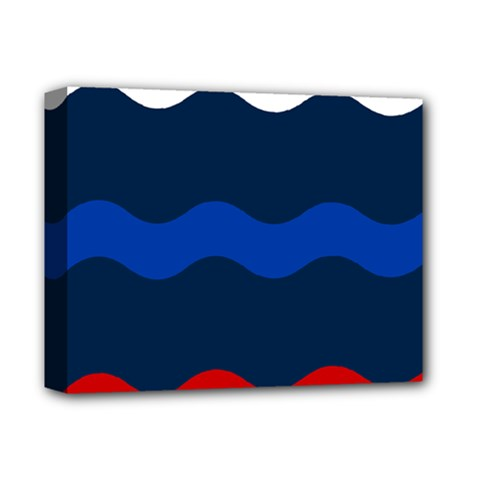 Wave Line Waves Blue White Red Flag Deluxe Canvas 14  X 11  by Alisyart