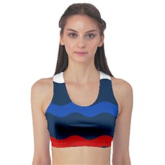 Wave Line Waves Blue White Red Flag Sports Bra by Alisyart