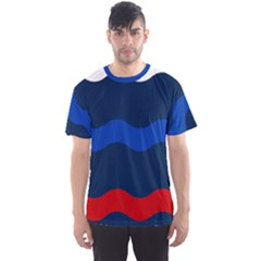 Wave Line Waves Blue White Red Flag Men s Sport Mesh Tee