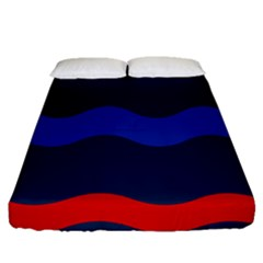 Wave Line Waves Blue White Red Flag Fitted Sheet (queen Size) by Alisyart