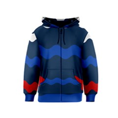Wave Line Waves Blue White Red Flag Kids  Zipper Hoodie