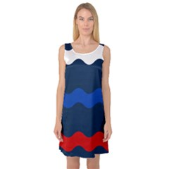 Wave Line Waves Blue White Red Flag Sleeveless Satin Nightdress by Alisyart