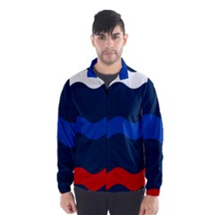 Wave Line Waves Blue White Red Flag Wind Breaker (men)