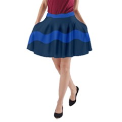 Wave Line Waves Blue White Red Flag A Line Pocket Skirt