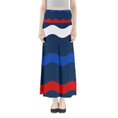 Wave Line Waves Blue White Red Flag Maxi Skirts by Alisyart