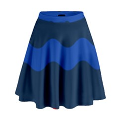 Wave Line Waves Blue White Red Flag High Waist Skirt