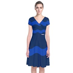 Wave Line Waves Blue White Red Flag Short Sleeve Front Wrap Dress