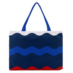Wave Line Waves Blue White Red Flag Medium Zipper Tote Bag by Alisyart