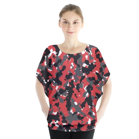 Spot Camuflase Red Black Blouse by Alisyart
