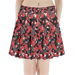 Spot Camuflase Red Black Pleated Mini Skirt