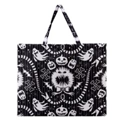Wrapping Paper Nightmare Monster Sinister Helloween Ghost Zipper Large Tote Bag by Alisyart