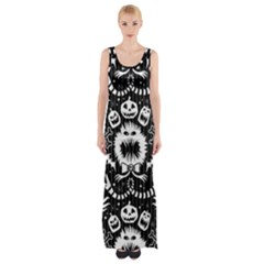 Wrapping Paper Nightmare Monster Sinister Helloween Ghost Maxi Thigh Split Dress